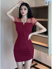 Sexy 2 Colors Gauze Shoulder Single-breasted V-neck Dress