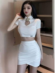 Modern Sexy 2 Colors Bare-midriff Short Two Pieces Dress