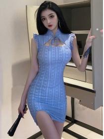 Pretty Charming Tie Collar Lace Bodycon Tank Dress