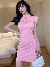 Wholesale Summer Tassels Cheongsam Slim Dress