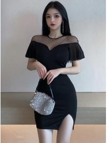 Korea Stylish Gauze Shoulder Flouncing Sleeve Slim Dress