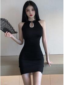 Sexy Fashion Beads Stand Collar Slim Cheongsam Dress