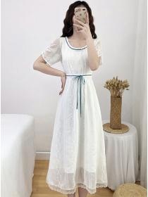 Preppy Fashion Round Neck Bowknot Waist Lace Dress