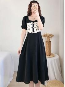Summer New Bowknot Square Collar Splicing Long Dress