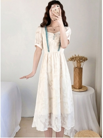 Wholesale Korea Square Collar Back Ties Lace Dress