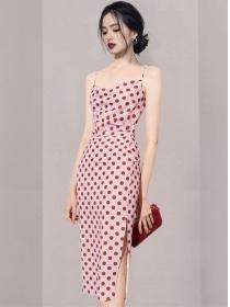 Summer Wholesale High Waist Dots Straps Slim Dress