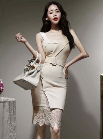Korea Stylish Belt Waist Lace Splicing Straps Slim Dress