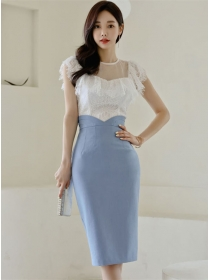 Grace Charming Lace Blouse with High Waist Slim Skirt