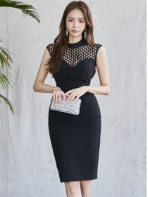 Sexy Wholesale 2 Colors Hollow Out Skinny Tank Dress