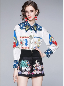 Europe Stylish Flowers Loosen Blouse with Short Pants