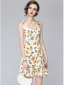 Pretty Summer Tie Straps Lemon Printings Fishtail Dress