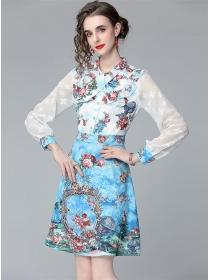 Pretty Europe Flouncing Collar Long Sleeve A-line Dress
