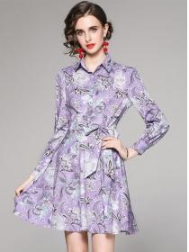 Wholesale Europe 2 Colors Tie Waist Shirt A-line Dress