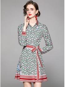 Preppy Fashion Stripes Collar Flowers Long Sleeve Dress