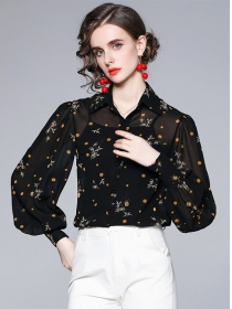 Hot Selling Dots Flowers Loosen Puff Sleeve Chiffon Blouse