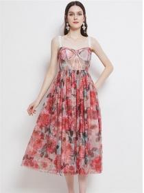 Retro Charming High Waist Flowers Straps Long Dress