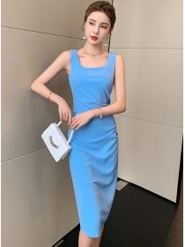 Korea Wholesale Pleated Waist Bodycon Tank Dress