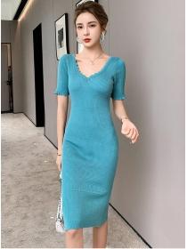 Fashion Women V-neck Short Sleeve Slim Knitting Dress