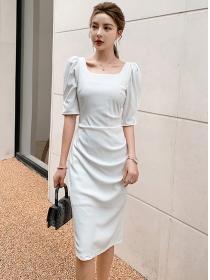 Modern OL 2 Colors Square Collar Pleated Slim Dress