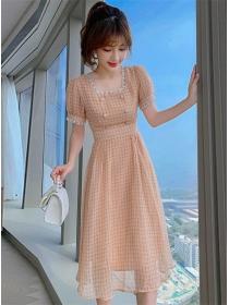 Korea Fashion Lace Square Collar Plaids A-line Dress