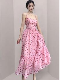 Hot Selling High Waist Dots Straps Maxi Dress