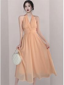 Pretty Women V-neck High Waist Dots Backless Halter Dress
