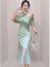 Wholesale Korea Flouncing Off Shoulder Fishtail Slim Dress