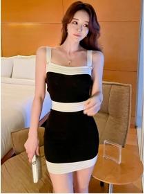 Summer Wholesale Color Block Straps Knitting Dress