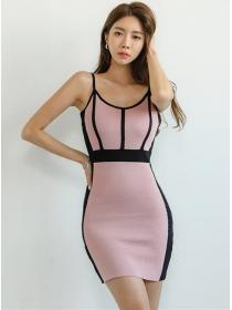 Stylish Korea Round Neck Color Block Slim Knit Dress