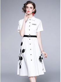 Europe Stylish Single-breasted Flowers Shirt A-line Dress