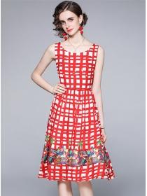 Pretty Fashion High Waist Plaids Flowers Tank A-line Dress
