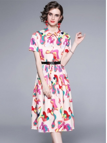 Hot Selling Shirt Collar Colorful Camouflage A-line Dress