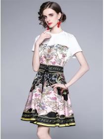 Summer Europe Flowers Cotton T-shirt with Flouncing Skirt