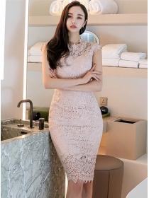 Elegant Lady Lace Flowers Hollow Out Slim Tank Dress