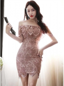 Sexy Charming Flouncing Boat Neck Slim Lace Dress