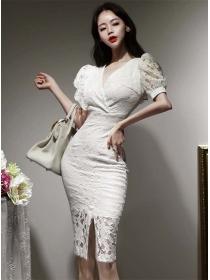 Korea Wholesale Fitted Waist V-neck Lace Puff Sleeve Dress