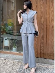 Modern Lady 2 Colors Belt Waist V-neck Slim Long Suits