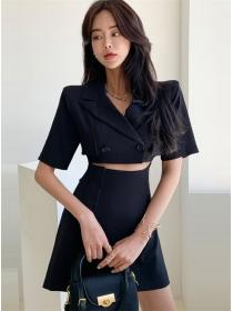 Korea Stylish Tailored Collar Splicing Short Sleeve Dress