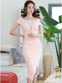 Grace Charming Lace Boat Neck Splicing Slim Dress