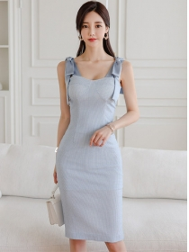 Elegant Korea Tie Bowknot Straps Slim Women Dress