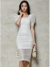 Retro Fashion Square Collar Hollow Out Puff Sleeve Lace Dress