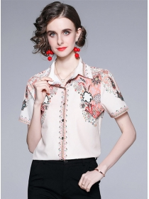 Europe Summer 2 Colors Flowers Short Sleeve Blouse