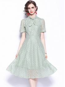 Fashion Europe Tie Collar Lace Short Sleeve A-line Dress