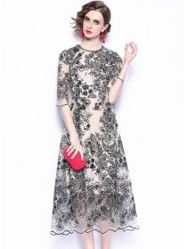 Retro Fashion High Waist Flowers Embroidery Gauze Long Dress