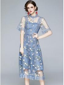 Summer New High Waist Lace Flowers Gauze Long Dress