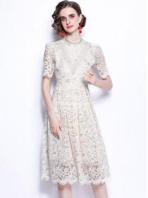 Grace Women 2 Colors High Waist Short Sleeve Lace Dress