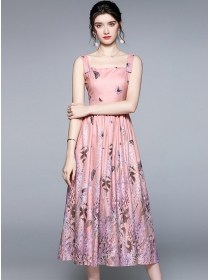 Pretty Europe 2 Colors Butterfly Flowers Straps Dress