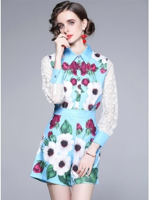 Summer Fashion Lace Sleeve Shirt Collar Flowers Short Suits