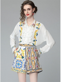 Charming Europe Flouncing Loosen Blouse with Flowers Pants