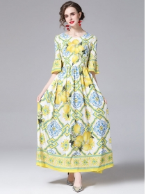 Retro Wholesale High Waist Flare Sleeve Flowers Maxi Dress